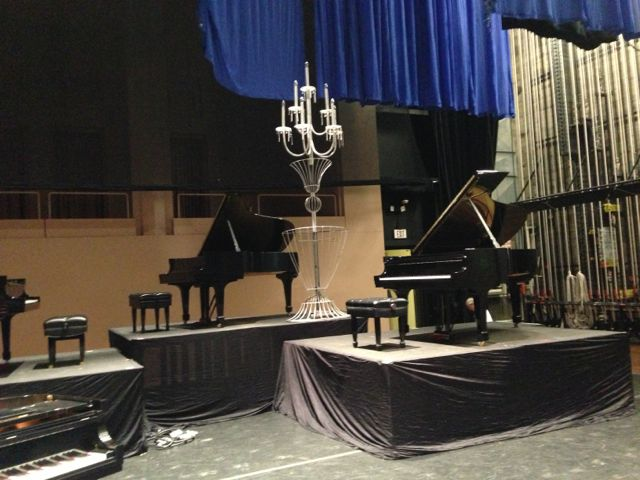 The pianos before the Stage Crew Magic