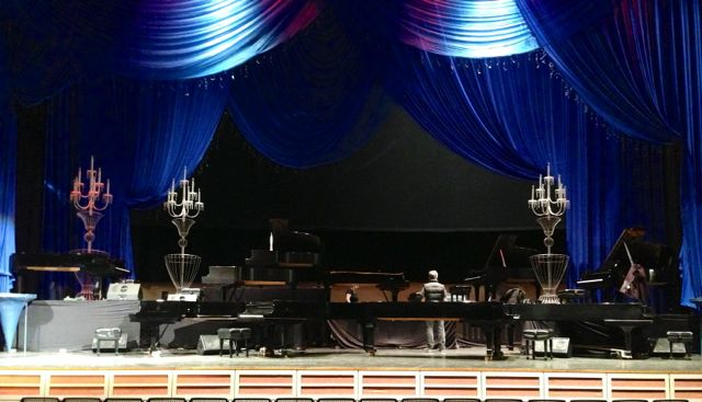 A view of all ten pianos from the house.
