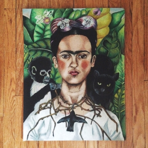 "College assignment to recreate your favorite piece of art in your favorite medium. At the time mine was oil pastels. Frida Kahlo is one of my biggest inspirations and favorite artists. This is her painting ""Self-Portrait with Thorn Necklace and Hummingbird."""