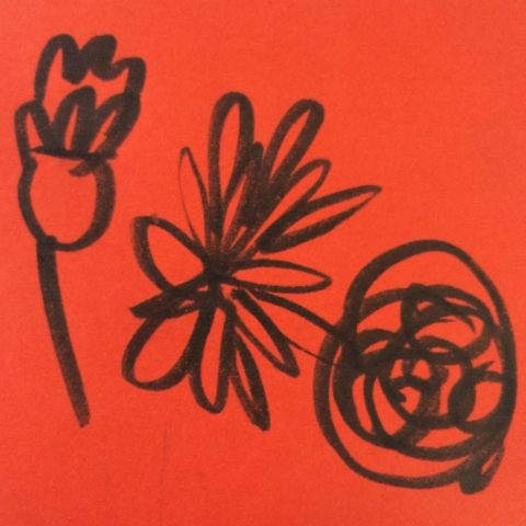 flower doodles on orange