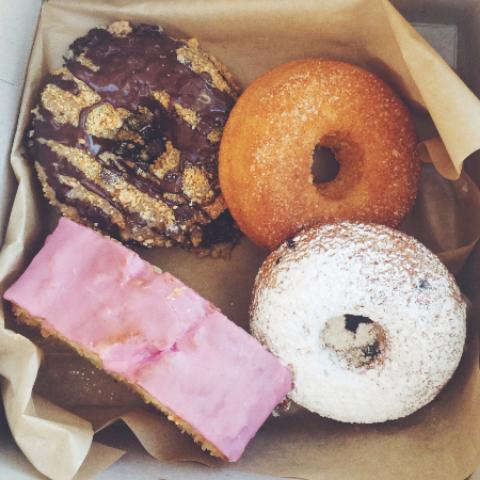 First stop: gluten free doughnuts at Erin McKenna's Bakery!