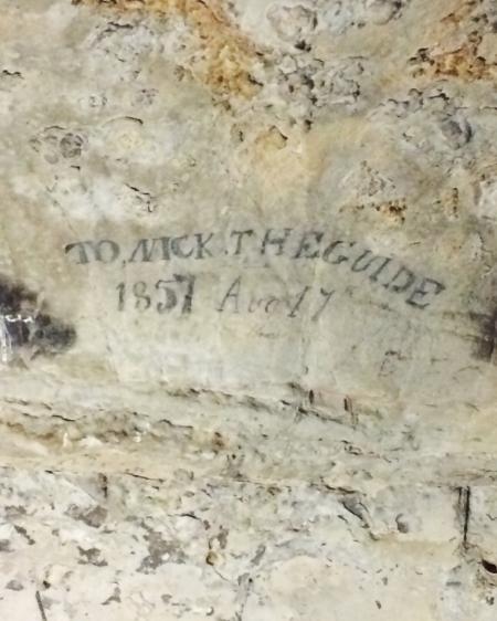 Dedication to an original cave guide.