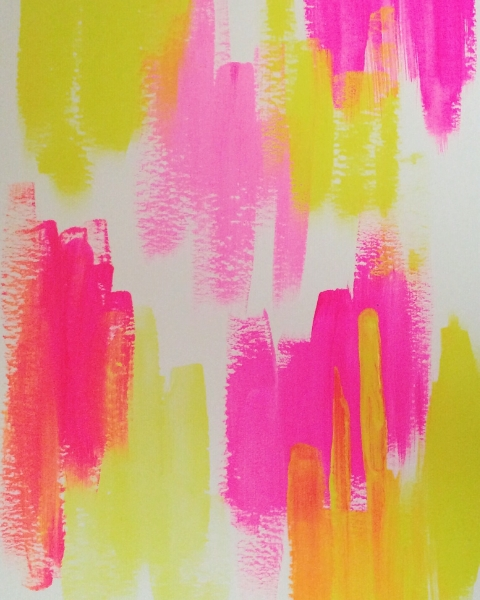 abstract in pink and yellow