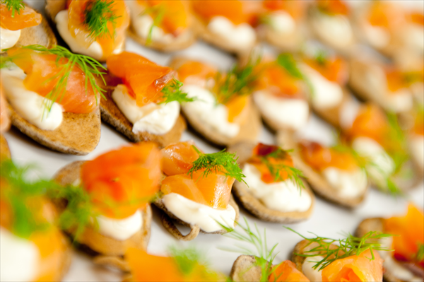 Smoked Salmon and Dill Creme Fraiche Blini