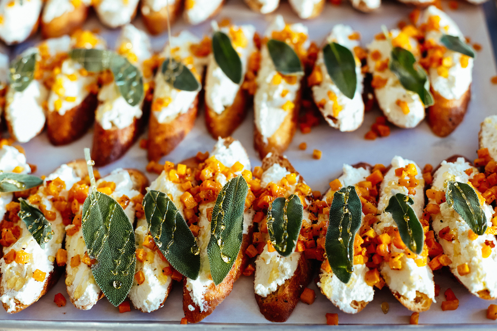 Ricotta, Roasted Squash, Honey + Sage Crostini. Photo courtesy of Denika Peniston Photography