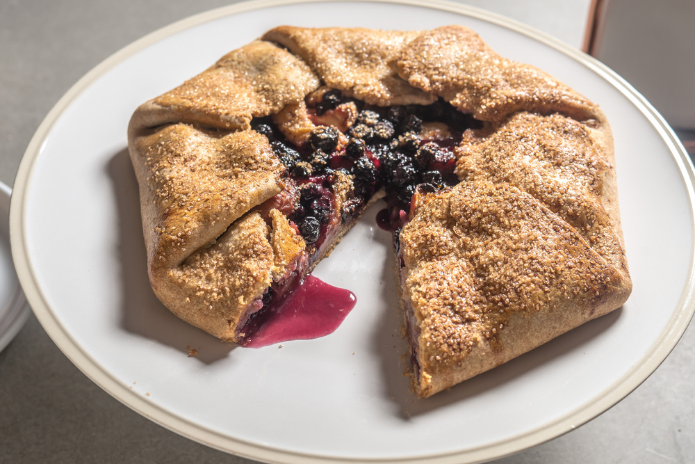 Peach and Maine blueberry cornmeal crostata