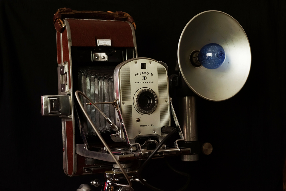 A late model Polaroid 95 mounted on a tripod with remote shutter release and bulb flash. Photo: Trey Takahashi