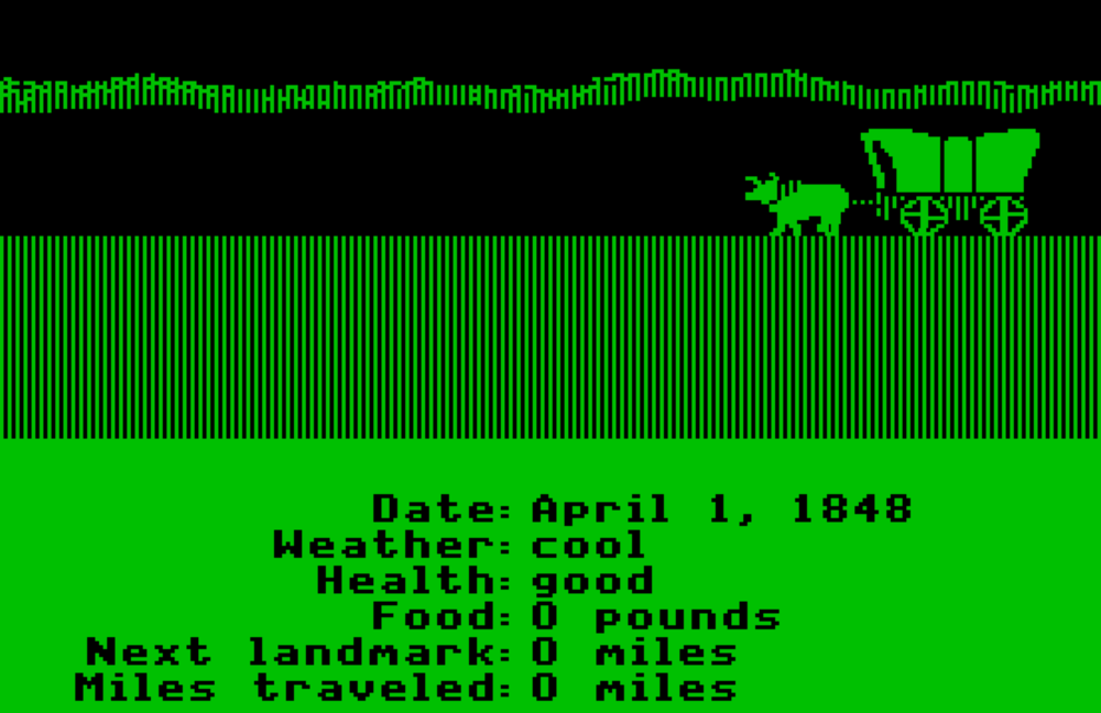 Monochrome (green) screen shot from the original Oregon Trail for the Apple  II c computer.