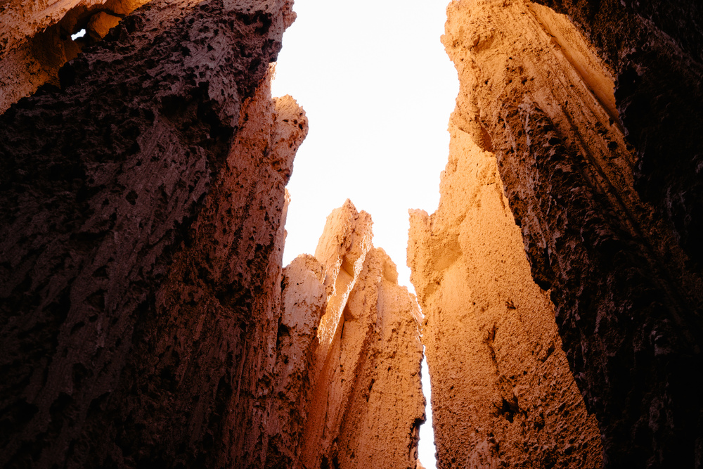 A look into the twisting canyons of the Cathedral Gorge formations