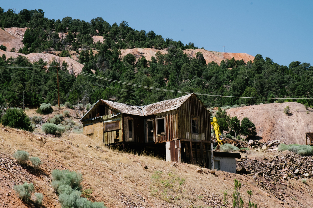 Old mining buildings like this one still stand. Though long abandoned, wooden structures like these are historic landmarks for ghost towns across Nevada.