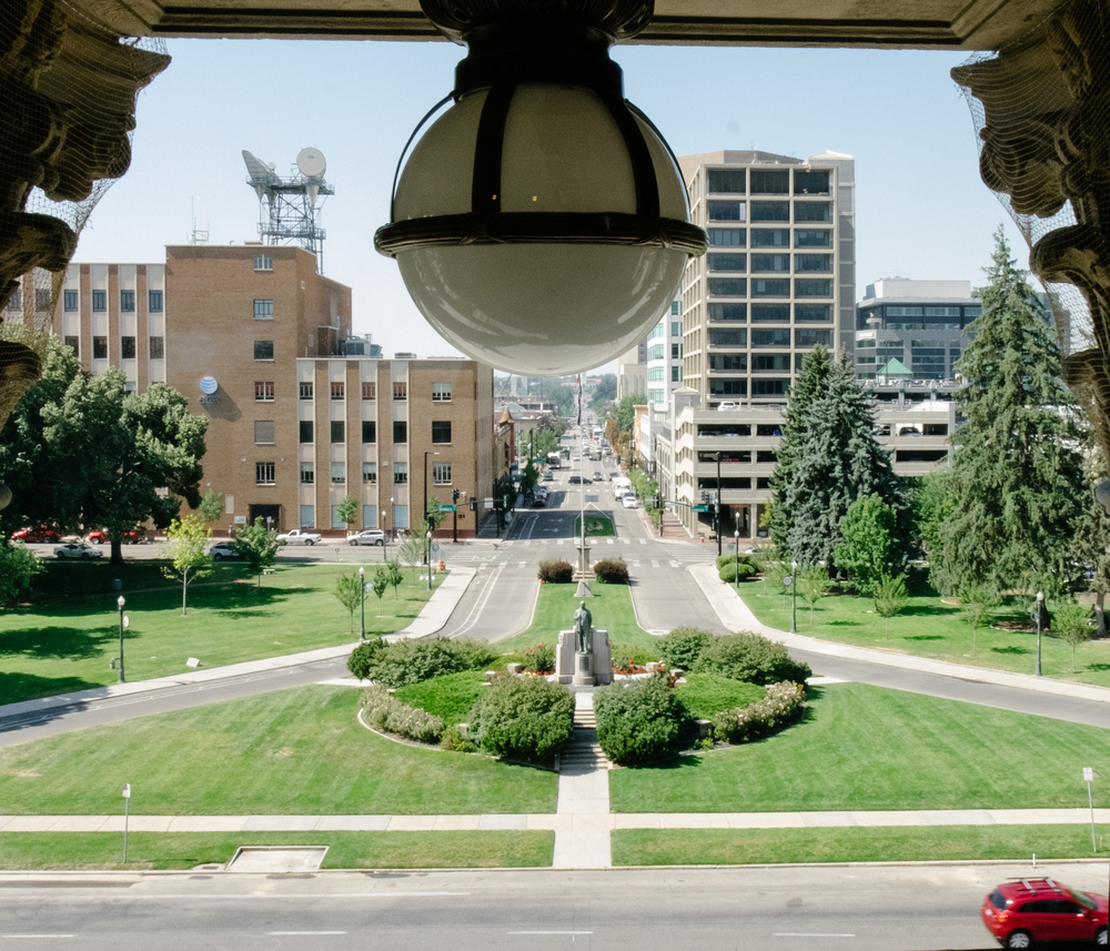 Downtown Boise from the top of the Capitol building.