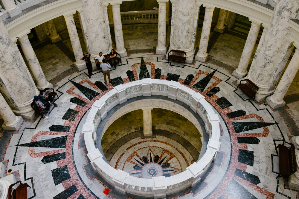 A look at the center of the capitol building from the top floor.