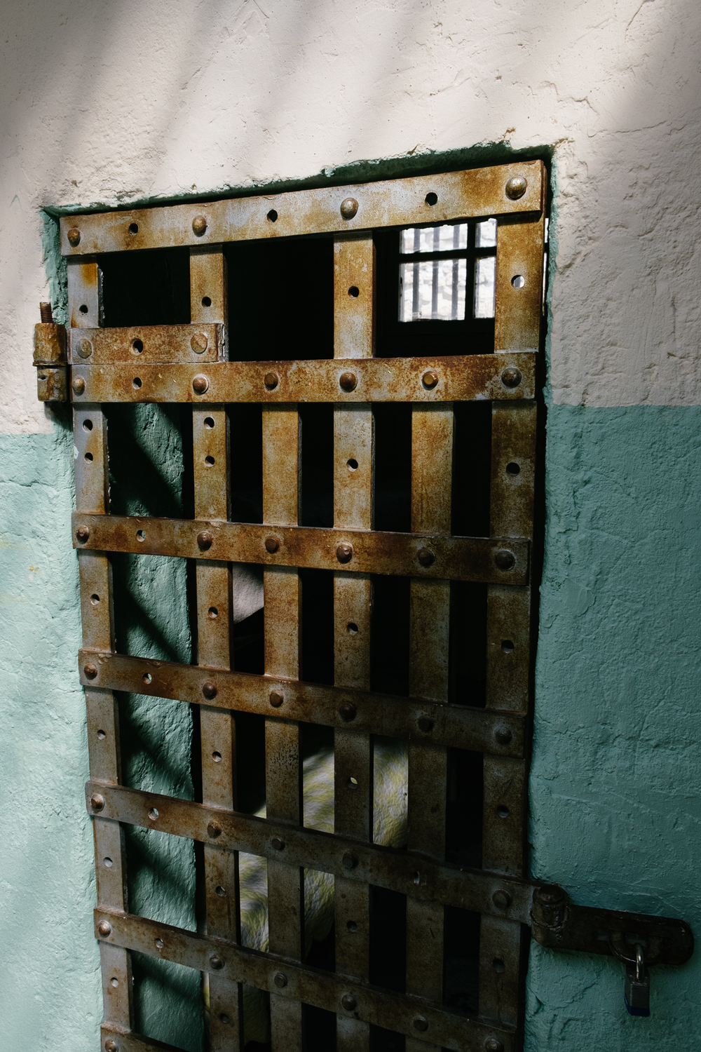 Cell doors in the old Woman's Ward are flat works of iron riveted together.