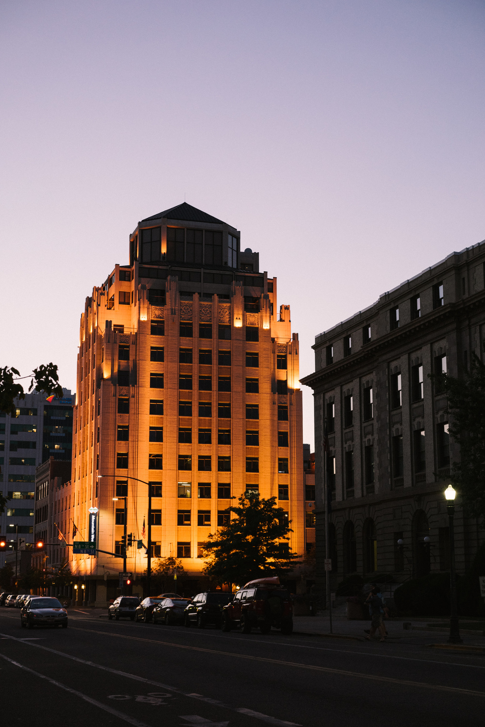 Many of the buildings are beautifully illuminated when the sun goes down.