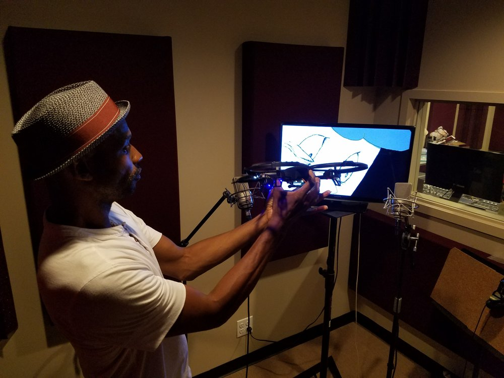 """Recording a drone for the """"Buddy and the Drone"""" cartoon intro."""