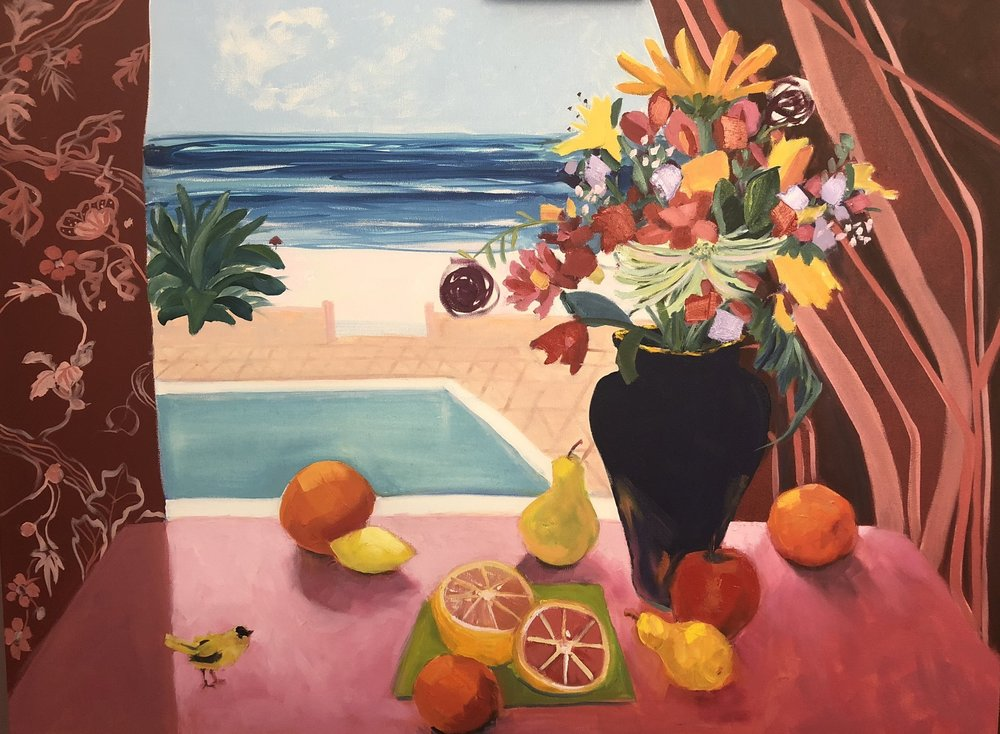 """Still Life with Pool and Finch"" by Ruth Formica. Oil on Canvas 30""X40"""