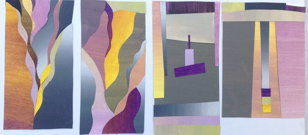 Leftover paper scraps from lesson 4 used in small scale collages
