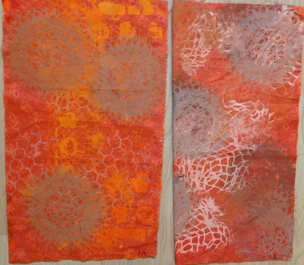 Set One: The background fabric is orange-red. On 1a, I printed variances of the orange-red and added some yellow for the accent. For 1b, I used black added to the red-orange as well as whites for the values.