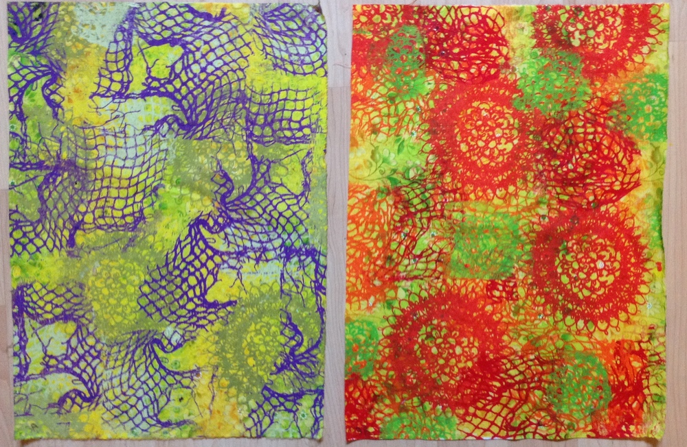 Set Three: For fabric 3a, I used the yellow part of the background as the background color.  I added the complimentary color of purple opaque paint for the accents. For fabric 3b, I used the analogous colors of red, red-orange, and orange in transparent colors and used yellow green as the accent using the yellow green part of the fabric as the background color.