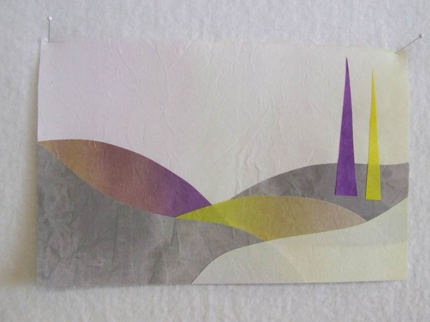Collage using yellow and purple complementary colors on fabric.  I found that the fabric color was not as intense as the watercolor paper but it was a joy to work with!  I followed the same process as above and then fused the pieces together.