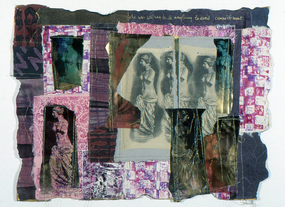She Was Willing to Do Anything to Avoid Commitment. 1998. Paste papers & photo transfers on silk.