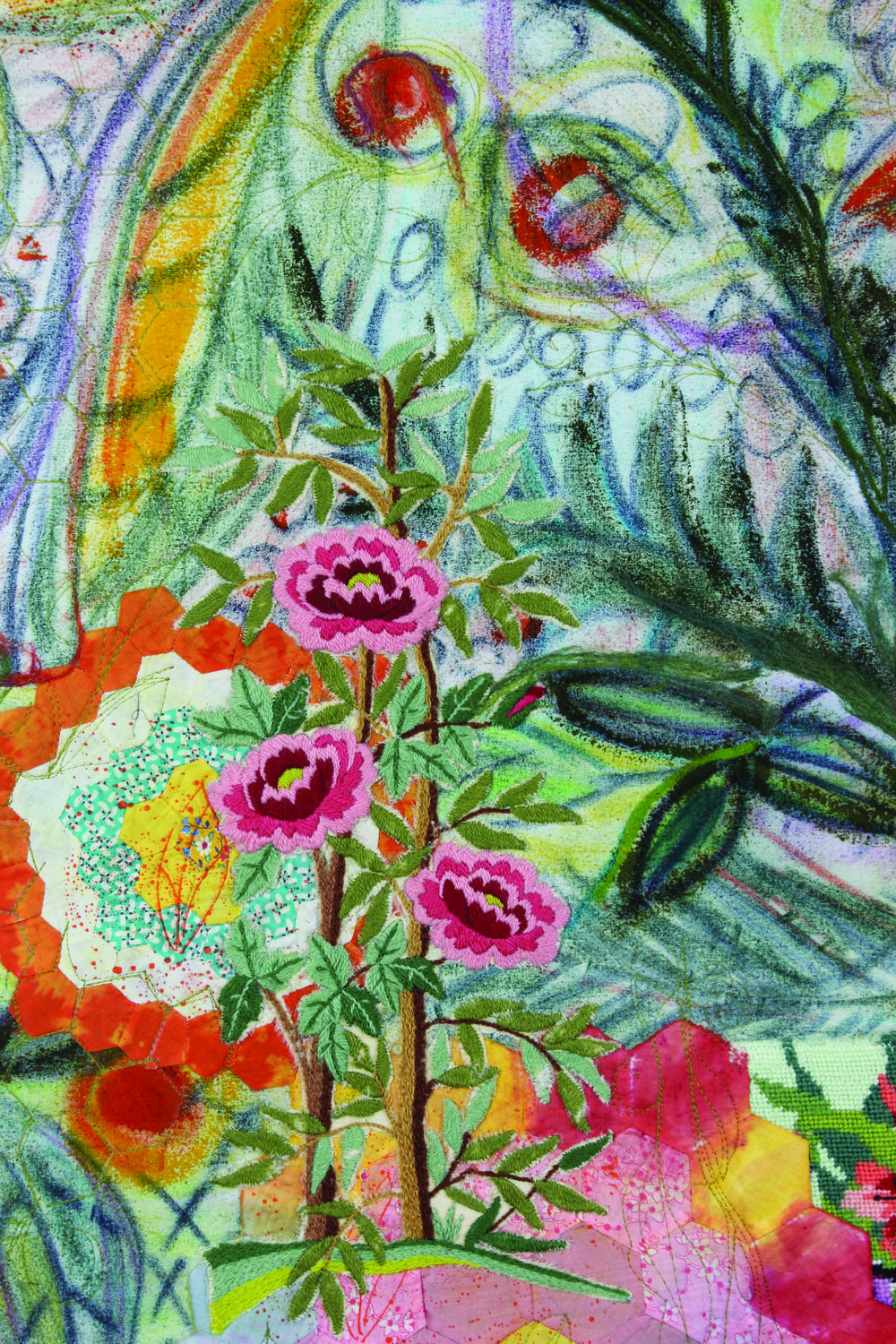 Grandmother's Flower Garden Detail