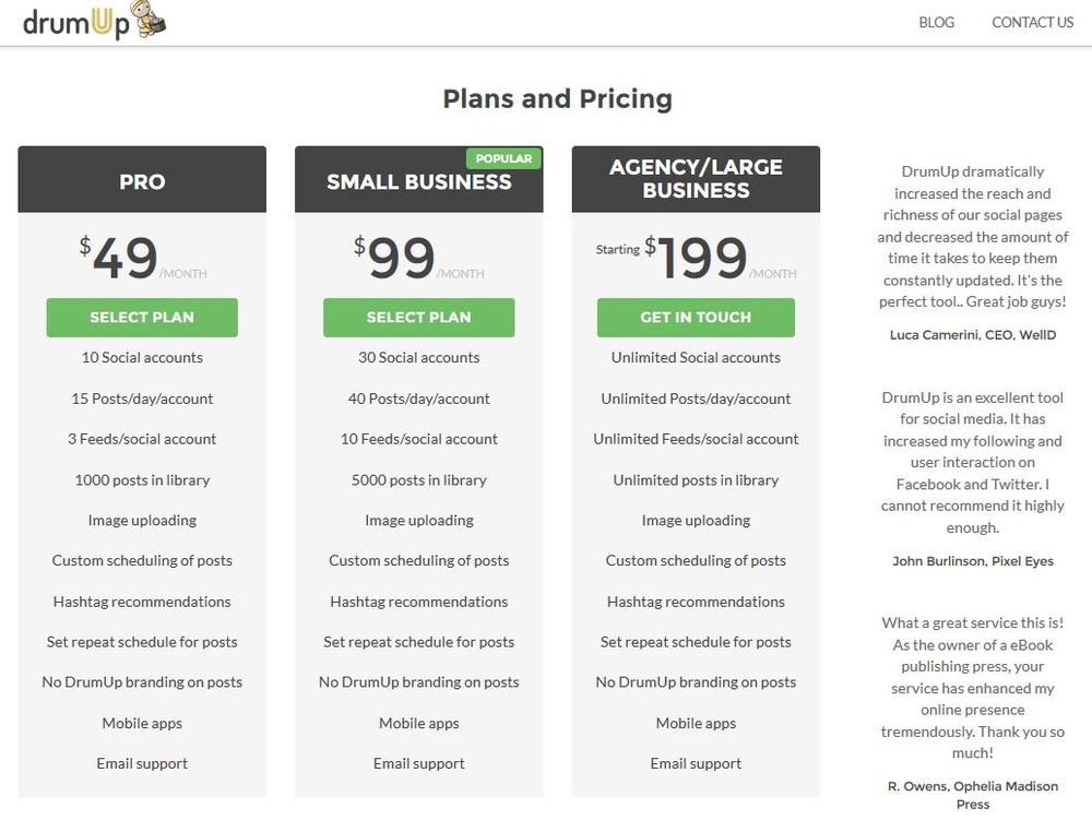 Drumup Social Media Sites Management And Marketing Upgrade Pricing Guide And Schedule Source
