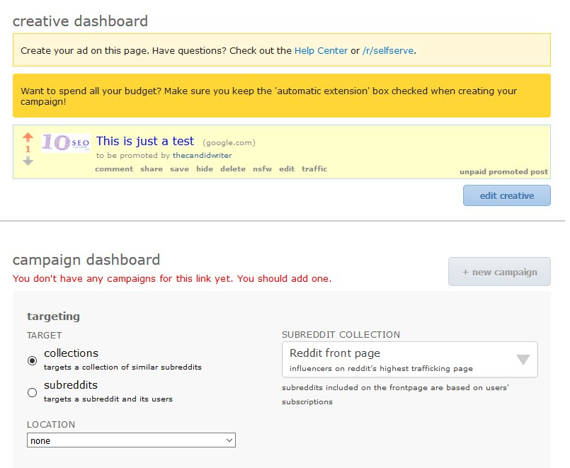 Reddit Advertising Ads Create Promotion Dashboard 1 Source