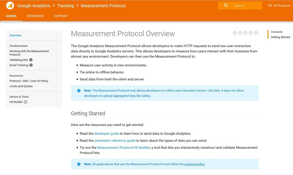 Measurement Protocol Google Analytics Tracking Developer Tool   Source