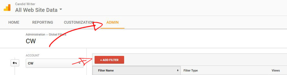 Google Analytics Create A Referrer Spam Filter Step 3 Admin Filter Panel   Source