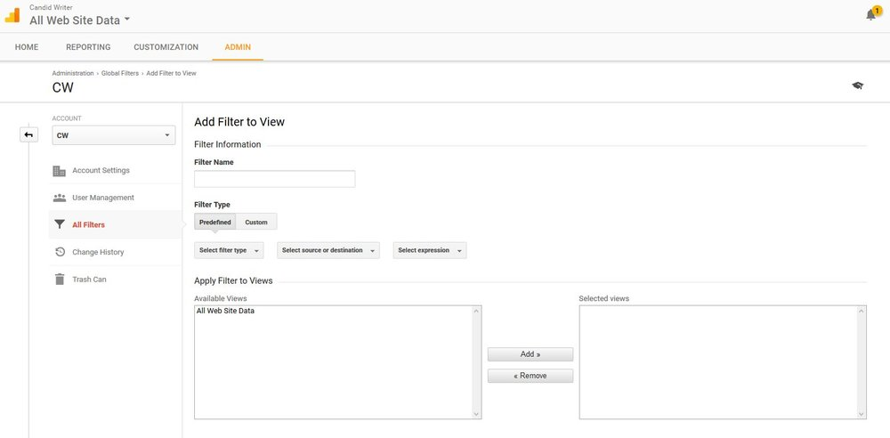 Google Analytics Create A Referrer Spam Filter Step 4 Admin Filter Panel Window Source