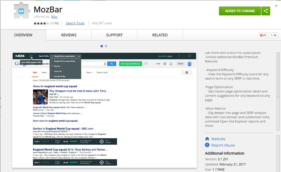 Mozbar Chrome App Extension   Source