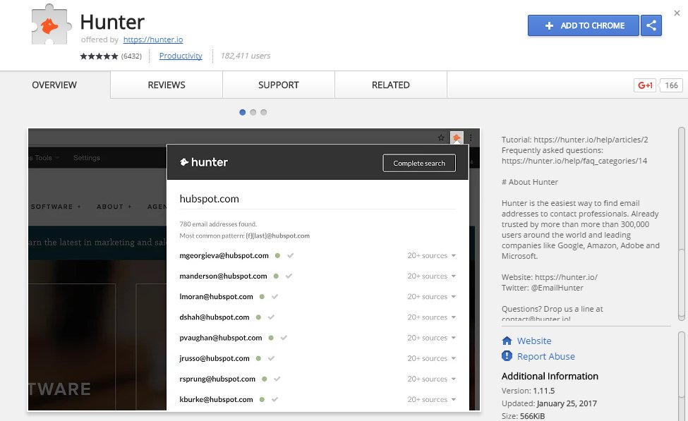 Email Hunter Chrome App Extension Source