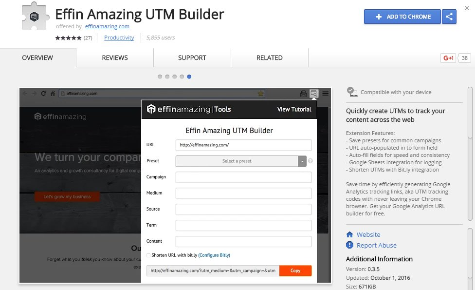 Effin Amazing UTM Builder Chrome App Extension   Source