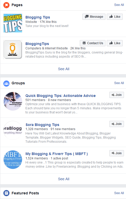 Blogging Tips Facebook Search   Source