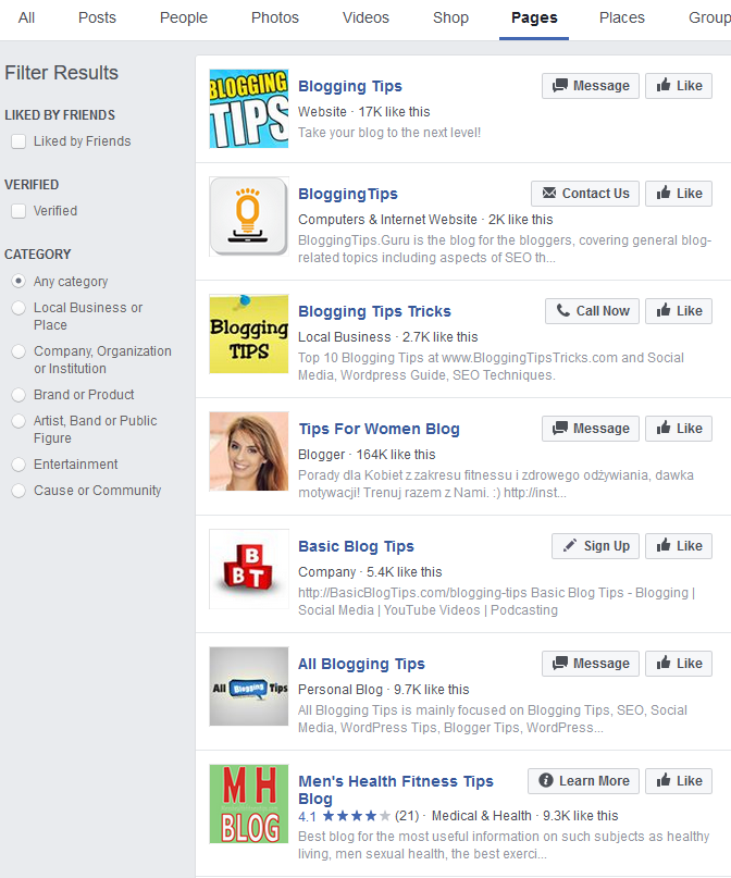 Blogging Tips Facebook Pages   Source