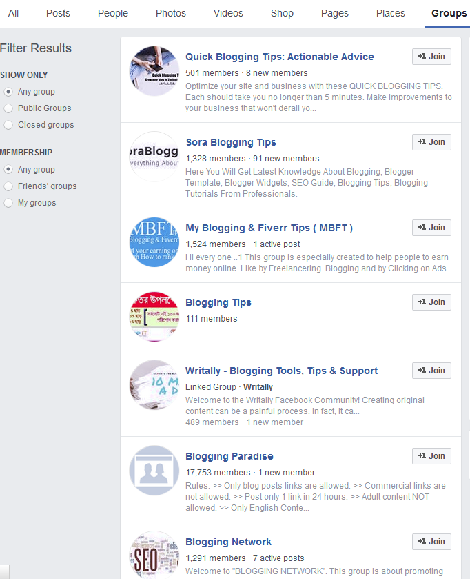 Blogging Tips Facebook Groups   Source