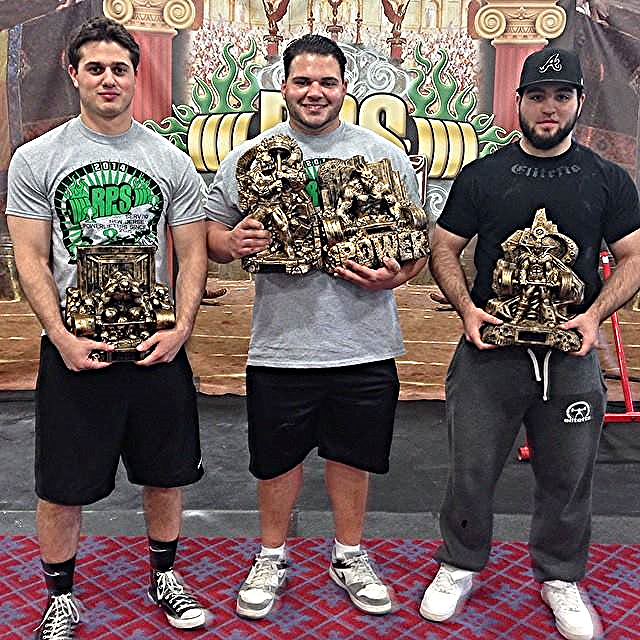 Team Iron Sport Athletes from left to right: Kevin Sampson, Rich DeAngelo, and Greg Rice each took first place in their respective divisions at the RPS South Jersey Rumble Powerlifting Meet.