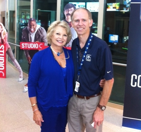 BYU, Brigham Young University finds Kathy at the BYU TV studio. Shown here with Ralph Tobias head of marketing: