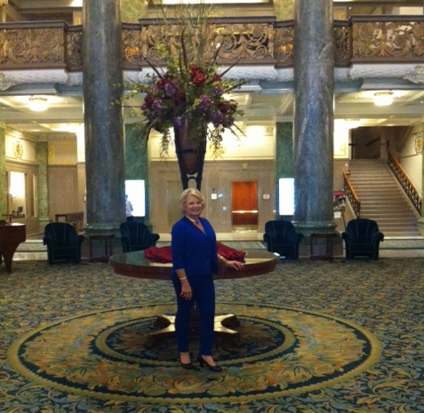 Kathy at the Joseph Smith memorial building before attending and being introduced at the Mormon Tabernacle Choir's rehearsal