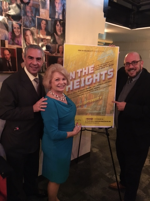 Paul Lisnek and General manager James Jensen of Porchlight Theatre and Kathy opening night of In the Heights Wonderful musical by Lin-Manuel Miranda who created and was the star of the Broadway hit Hamilton In The Heights has now receivedgreat reviews and a standing ovation that night!