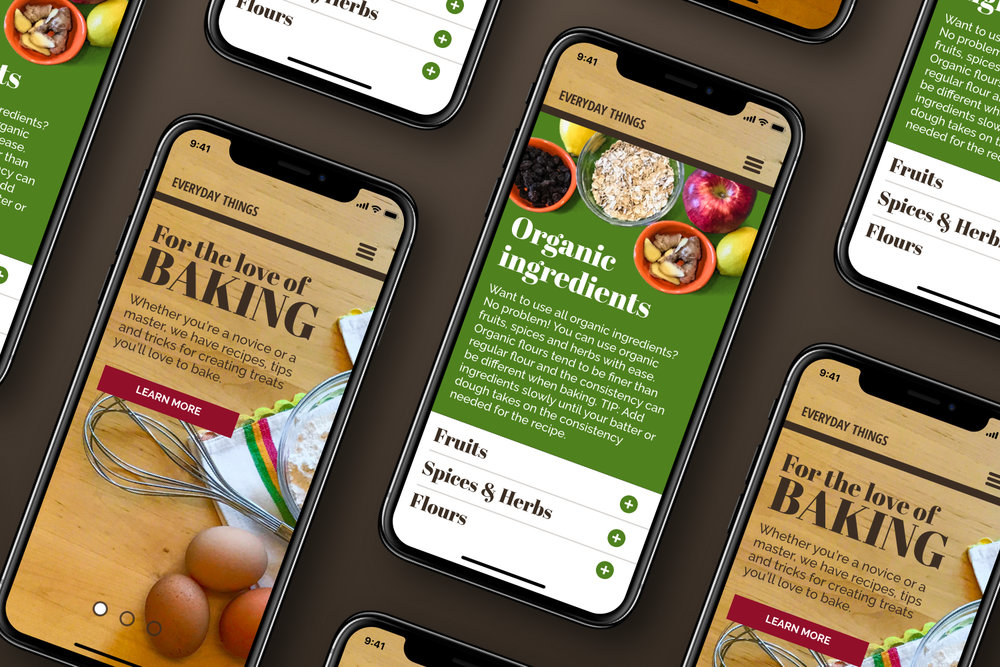 Everyday Things - Responsive design for culinary expertise, utilizing a defined asset package.