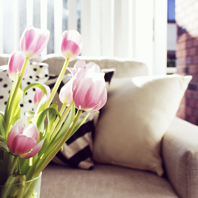 S O F T  >> Best corner of our home to curl up with a good book. Soft light, lounge + tulips.