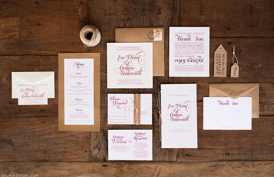 Lee + Galina Wedding Stationery — GALINA DIXON Boutique Stationery