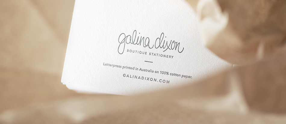GALINA DIXON Letterpress Greeting Card Back
