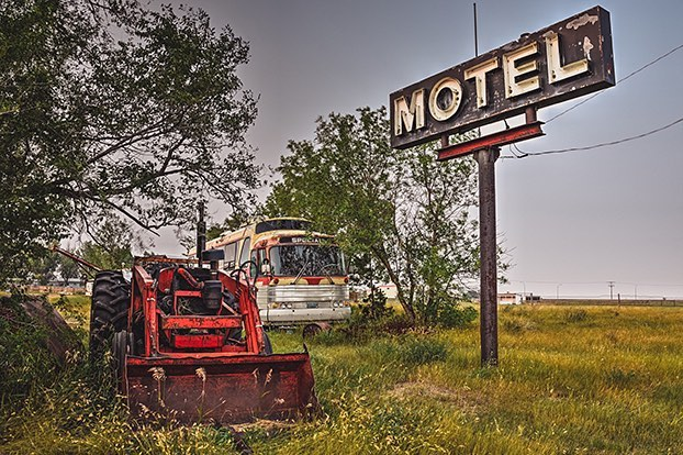 "I call myself a treasure hunter. The hunt is just as much fun as shooting, you never know what you going to find! This piece is called ""Motel Special"" the bus actually says special lol 😂. . . .  I'm in Calgary this weekend for @marketcollective 10th Anniversary!!! This my last market of the 2018! I have a lot of new prints including this one ""Motel Special"" Please come and say hi!! It's opened 10-6 today and tomorrow"