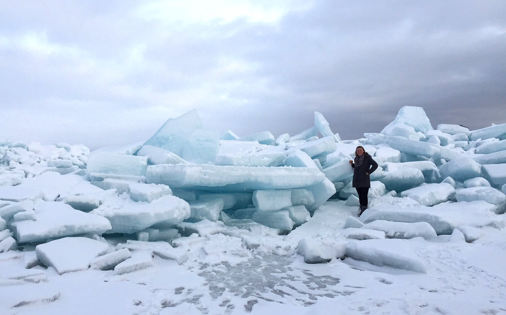 The ice was much taller than me. Some of piles farther out were 2-3 stories high!