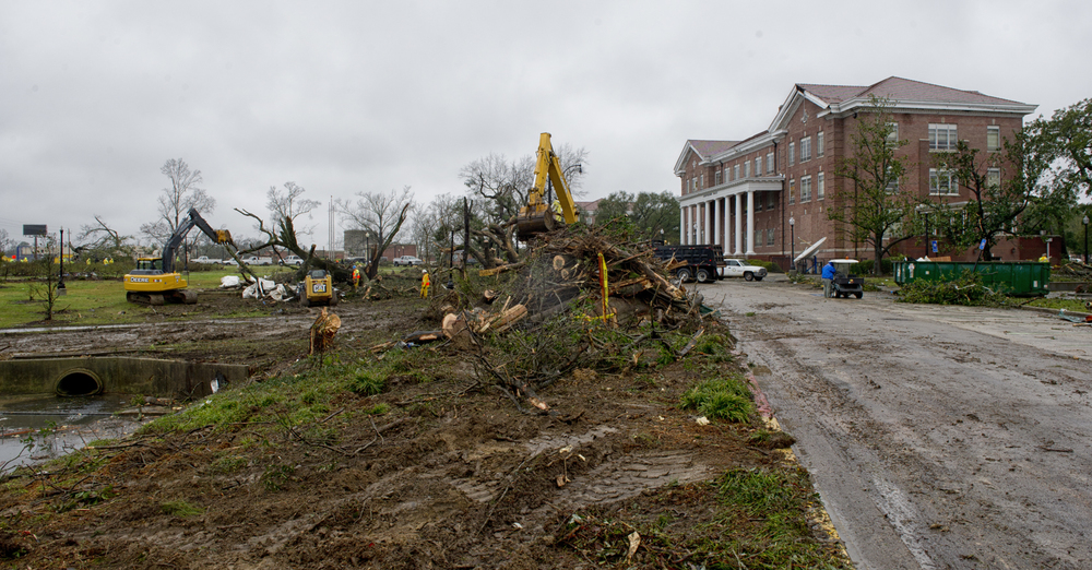 Tornado damage to the front lawn of Southern Hall, The University of Southern Mississippi. February 11, 2013, Hattiesburg, Miss.