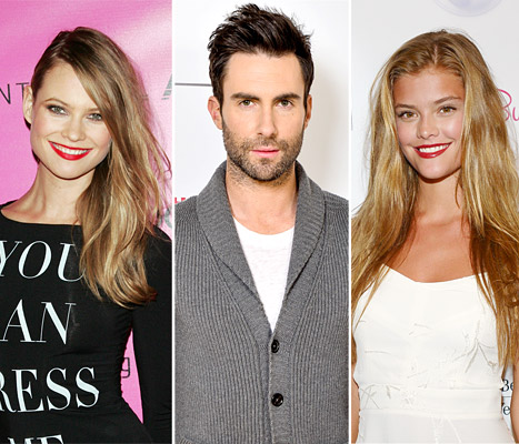From US Weekly: Adam Levine told ex-girlfriend Nina Agdal (right) about his engagement to Behati Prinsloo (left) via text message. Credit: Jim Spellman/WireImage.com; George Pimentel/WireImage.com; Gustavo Caballero/Getty