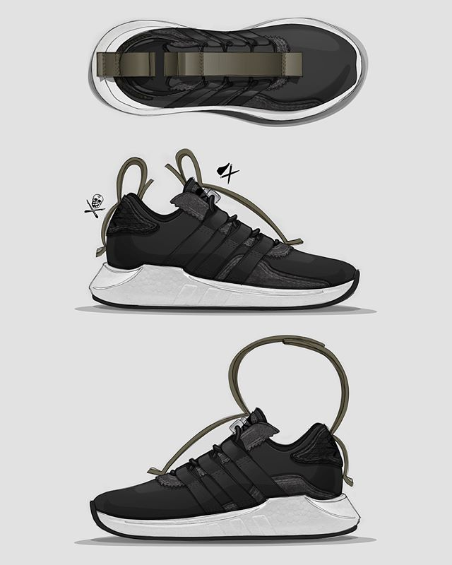 My #conceptsurgeon submission. It's LATE here, but I had to stay up to support the competition. Shout out to @conceptkicks and @theshoesurgeon for putting this together. ACRONYM technical carry straps are snapped back on theirselves through an internal looper and can unsnap and connect to one another for transport. Hender Scheme inspired heavy, leather and reversed leather (for a suede side) juxtapose a heritage look. The upper sits on the required EQT boost sole unit. I challenged myself to also include DNA from @theshoesurgeon as he'd be the maker. A black python leather back tab nods to his most iconic material choice. Finally laser etched @conceptkicks logo is added to the tongue. #showyourwork #design #designprocess #sketch #designsketch #industrialdesign #footweardesign #footwear #acronym #henderscheme #adidasoriginals #adidaseqt #adidasboost